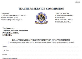 TSC- Application for confirmation of appointment form