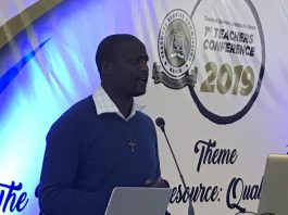 Peter Tabich, the 2019 Global Teacher Award addressing the participants of the 1st Teachers Service Commission Teachers Conference at the Kenya School of Government on June 21st to 22nd, 2019.