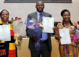 The 2019 African Teacher Prize winners; Right to Left: Ms Augusta Lartey-Young (Ghana), Mr. Eric Ademba (Kenya) and Sister Gladyce Kachope (Uganda);