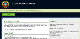 How to Log in to Jomo Kenyatta University of Agriculture and Technology (JKUAT) Students Portal online, for Registration, E-Learning, Hostel Booking, Fees, Courses and Exam Results
