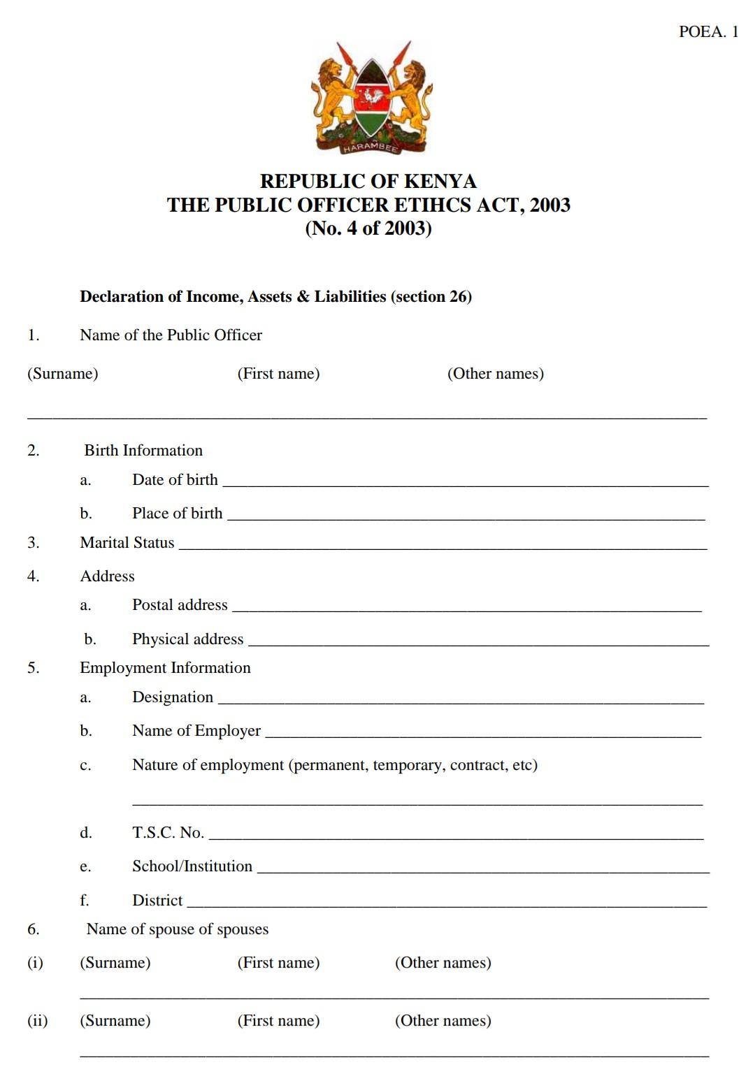 Wealth declaration form page 1