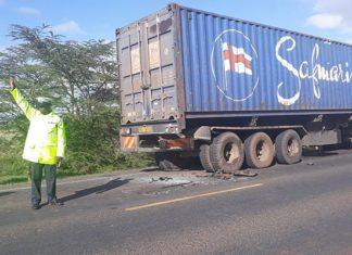 Lorry hit by vehicle in which the Principals were travelling. Photo/ Courtesy