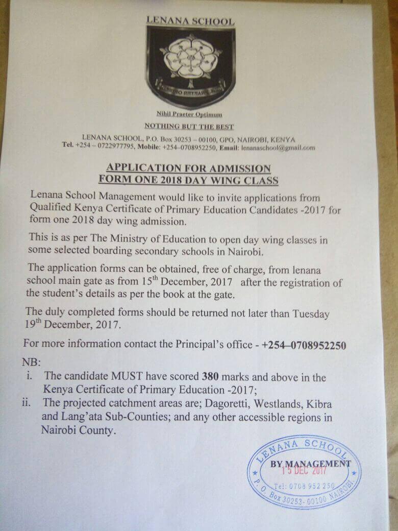 Lenana School admission invite letter.