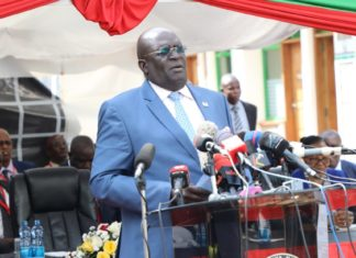 CS Education Prof George Magoha while releasing 2019 KCPE results at Mitihani House in Nairobi on Monday November 18, 2019.
