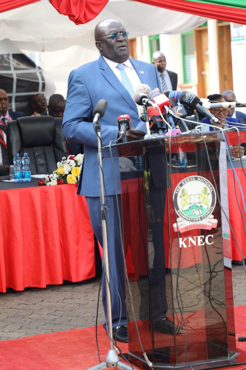 CS Education Prof George Magoha while releasing 2019 KCPE results at Mitihani House in Nairobi on Monday November 18, 2019.
