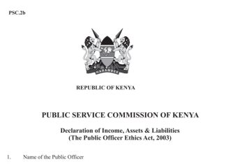 The Public Servants Wealth Declaration Form, PSC 2b