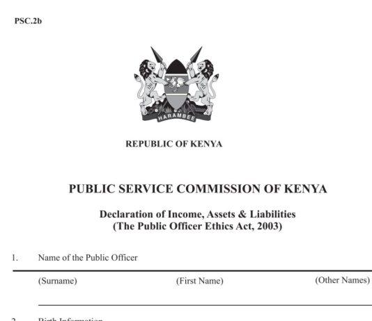 The Public Servants Wealth Declaration Form, PSC 2b