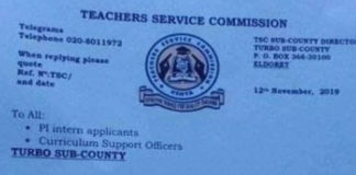2019 TSC Intern Teachers' Recruitment, Interview dates and Venues per county; Uasin Gishu- Turbo