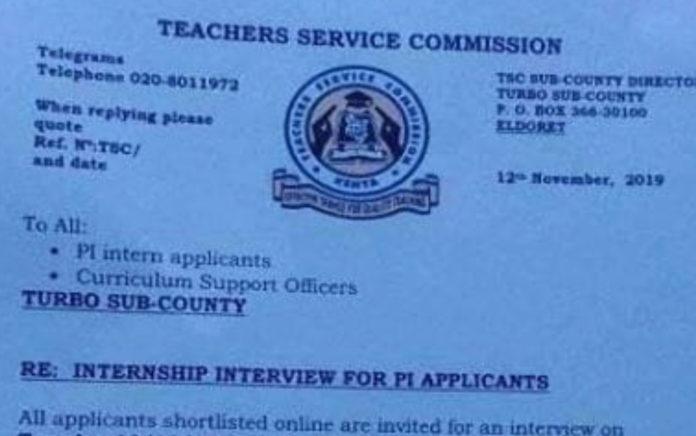 2019 TSC Intern Teachers' Recruitment, Interview dates and Venues per county; Uasin Gishu- Turbo