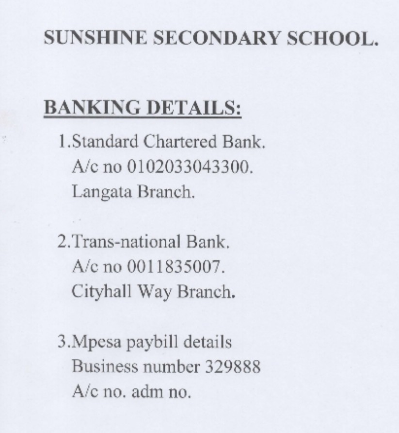 Sunshine Secondary School Fees Payment Guide.