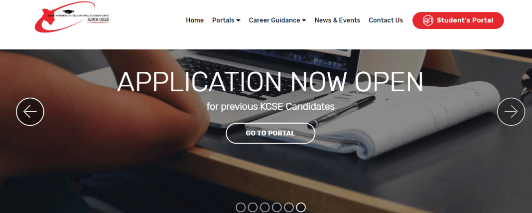 KUCCPS Portal for making online applications.