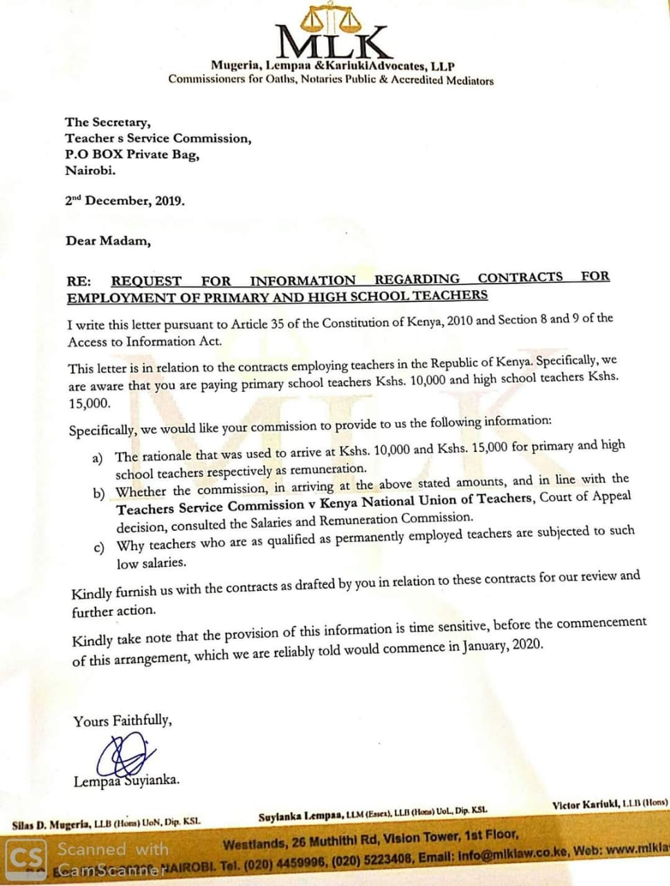 Mugeria, Lempaa and Kariuki Advocates' letter to TSC over employment of intern teachers.