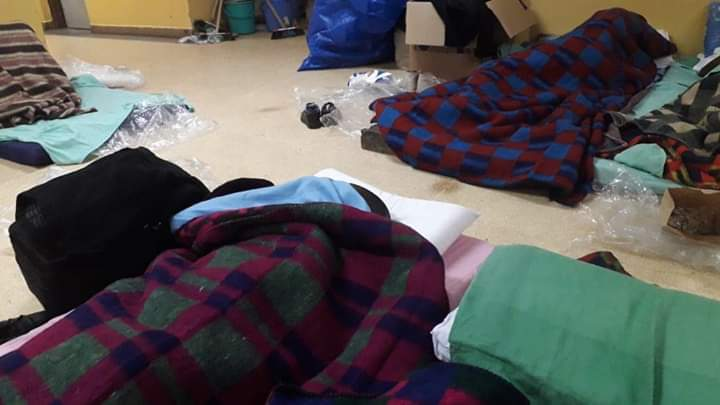 Leaked photos of 2019 KCSE examiners who were forced to sleep on the floor due to congestion at one of the marking centres.