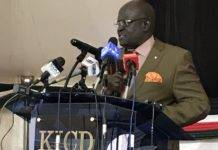 CS Magoha during the launch of the 2020 Elimu Scholarship Programme at at the Kenya Institute of Curriculum Development, Nairobi. The initiative is funded by World Bank and Government of Kenya through Ministry of Education.