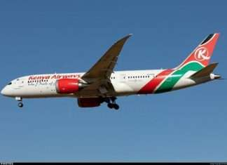 A plane belonging to Kenya Airways.