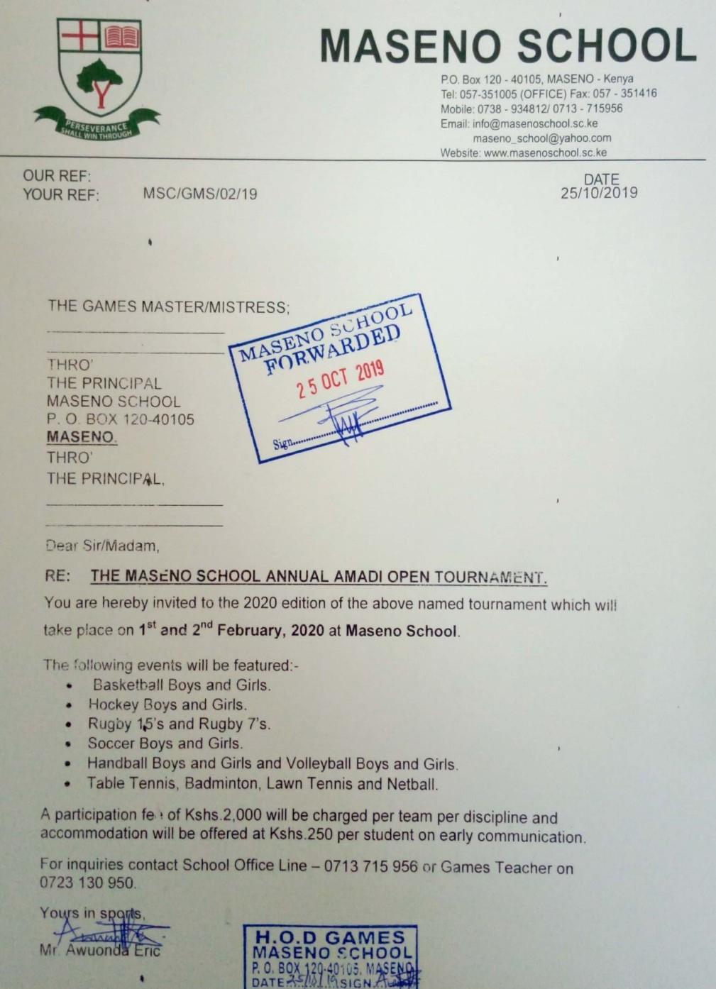 The Maseno School 2020 sports tournament invitation letter.