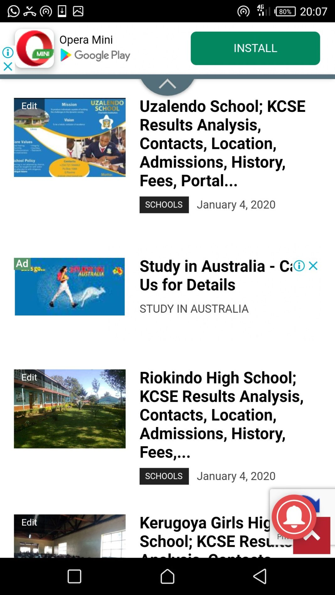 Some of the featured schools.