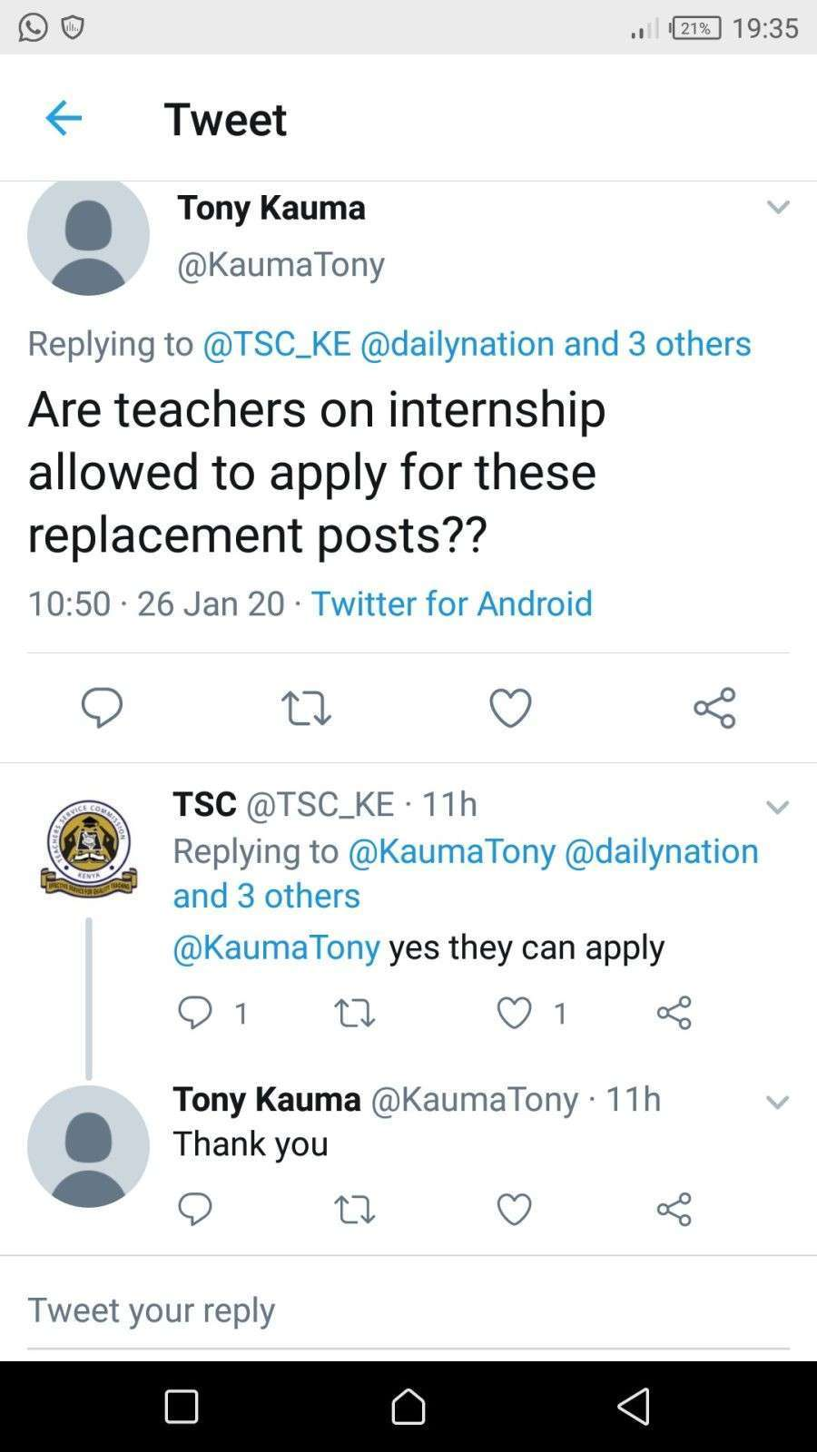 The response from TSC that gives Teacher Interns freedom to apply for the Permanent/ Replacement posts.