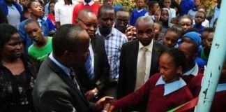 Dagoretti South MP John Kiarie at Riruta Satellite Primary School.