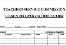 Lesson Recovery Schedule form