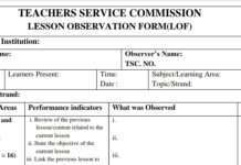 TSC Lesson Observation Form for teachers