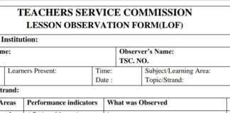TSC Lesson Observation Form for teachers
