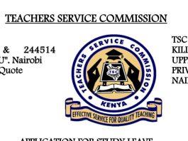 TSC Study Leave Application Form.