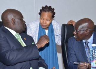 From Right: Education Permanent Secretary (Dr. belio Kipsang), KNEC Boss (Dr. Mercy Karogo) and Education Cabinet Secretary Prof. George Magoha.