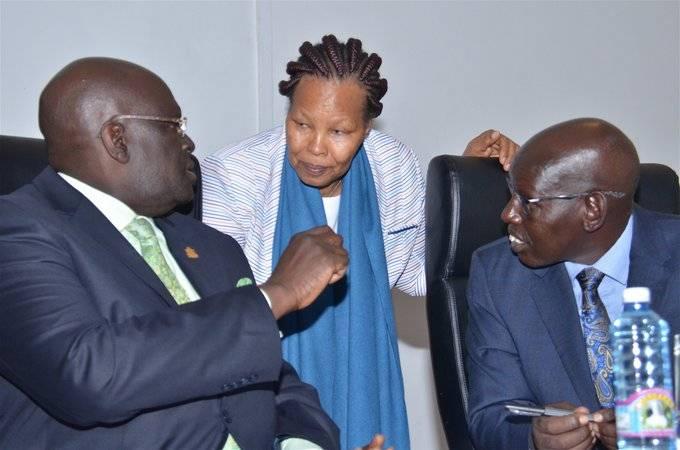 From Right: Education Permanent Secretary (Dr. belio Kipsang), KNEC Boss (Dr. Mercy Karogo) and Education Cabinet Secretary Prof. George Magoha.