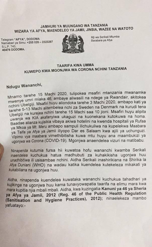 Tanzania confirms first Corona virus case