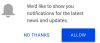 Real Time Notifications. Click on 'Allow' to receive first hand news as it breaks