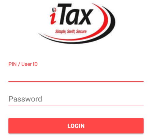 Photo- The iTax log in window.
