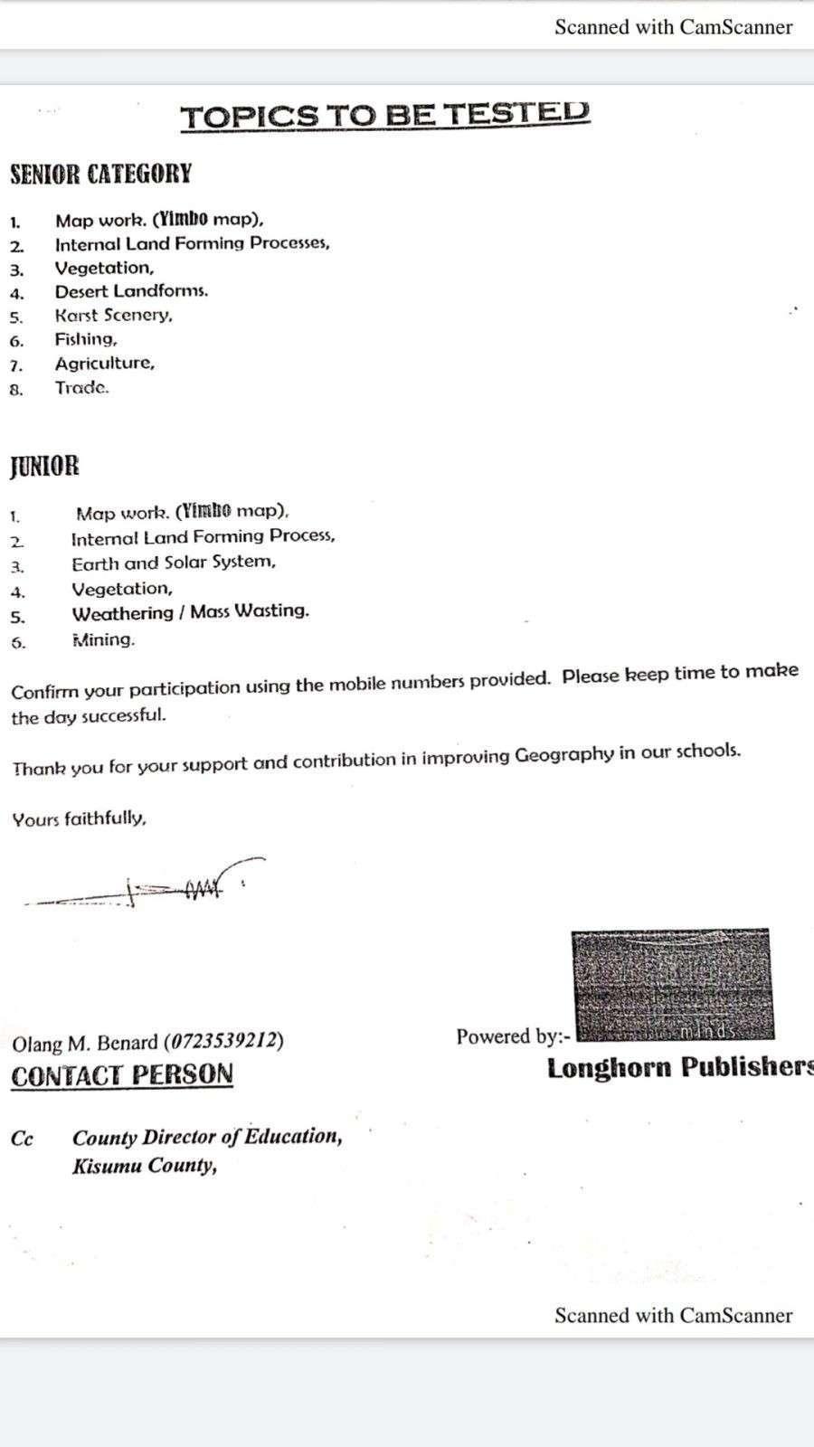 Kisumu Boys' Geography contest invitation letter- 2020