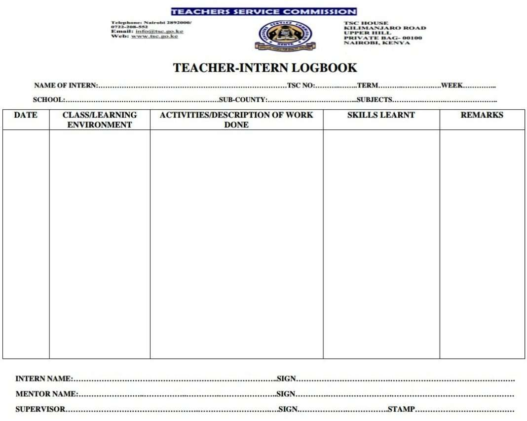 Teacher Intern Log book free download.