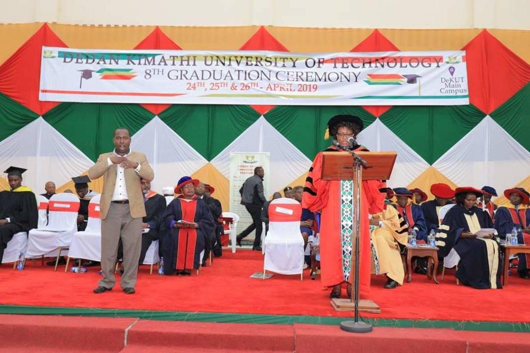 A past graduation ceremony at Dedan Kimathi University.