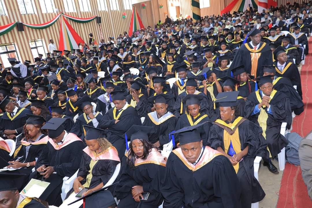 Dedan University graduands at a past graduation ceremony. The university is planning to hold a virtual graduation ceremony due to the current Covid-19 pandemic.