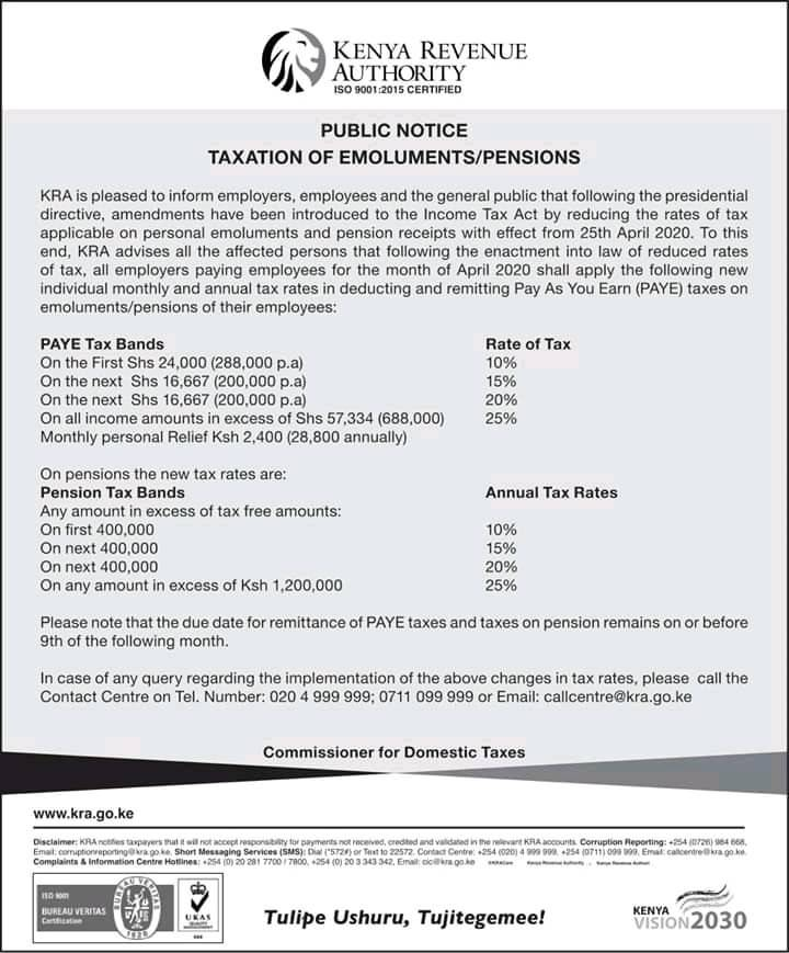 The new income tax bands as released by the Kenya Revenue Authority, KRA.