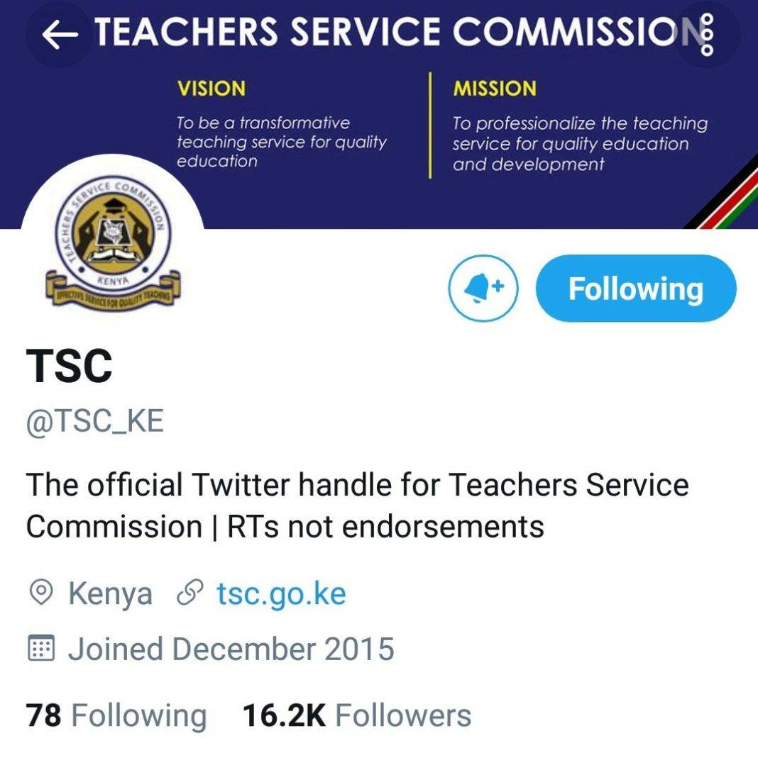 Official Twitter account for the Teachers Service Commission, TSC.