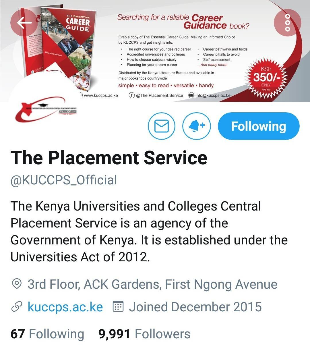Official KUCCPS twitter account.