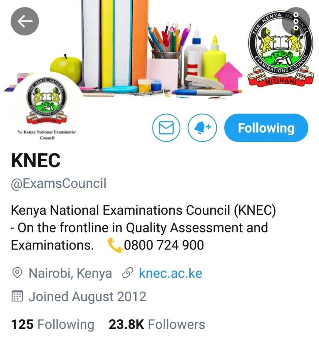 Official Knec twitter account.