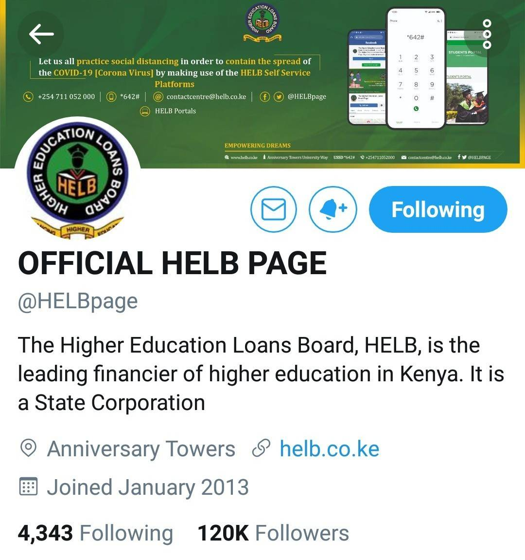 Official Helb twitter account.