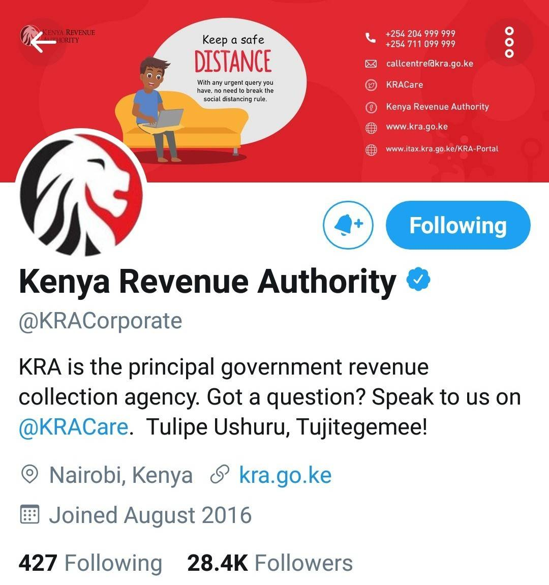 Official KRA twitter account.