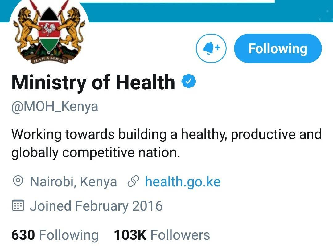 Official twitter account for the Ministry of Health.