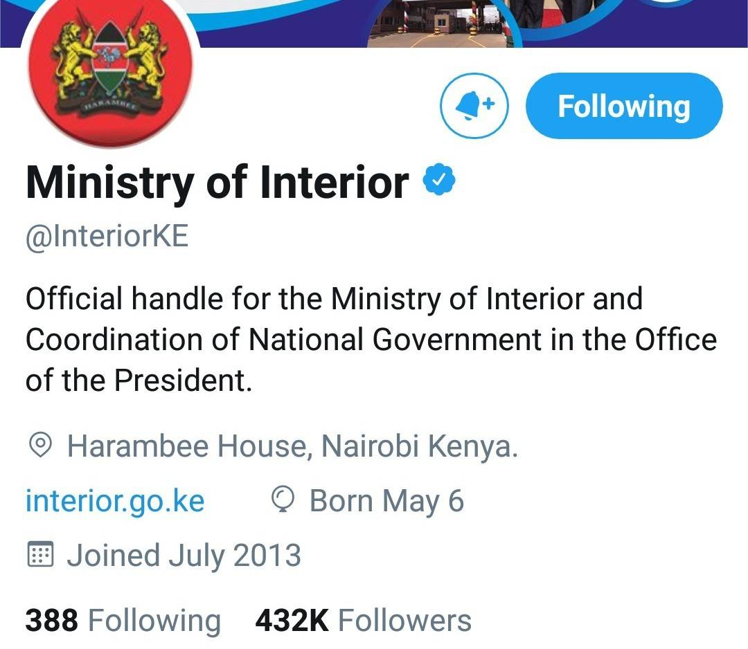 Official twitter account for the Ministry of Interior.