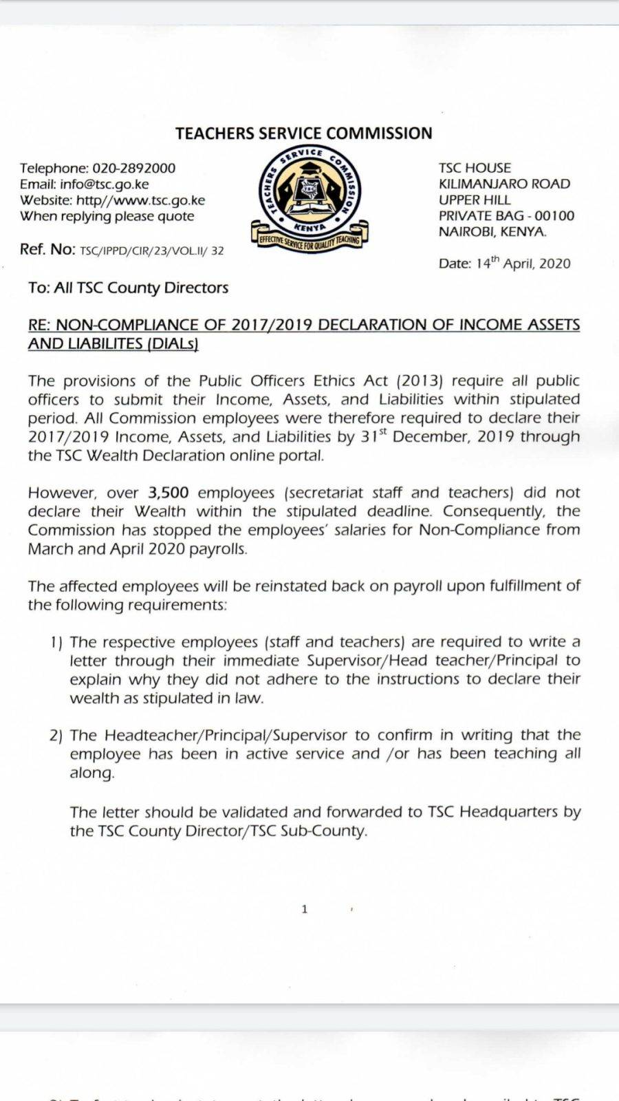 TSC Circular on expunging over 3,500 teachers and staff from the payroll for failing to declare their 2017/ 2019 wealth.