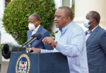 President Uhuru Kenyatta during the Seventh Presidential address on the Coronavirus pandemic: The 8-Point Stimulus Program, Saturday 23rd, May 2020.