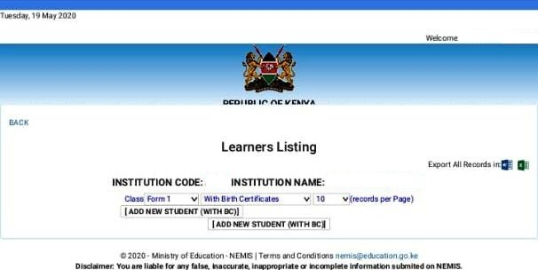 Screenshot showing that Nemis data for this school is missing for their form ones.