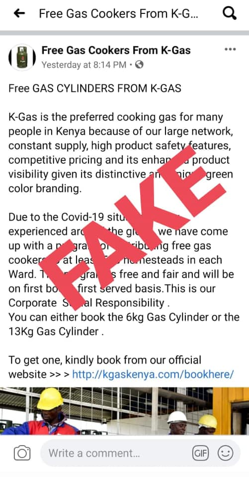 The fake promotion advert for the K-gas cylinders give away.