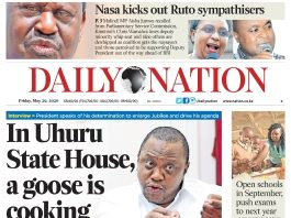 Daily nation newspaper's cover page. Teachers will now receive free e-papers after KNUT, NMG signed deal.