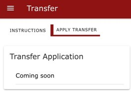 KUCCPS student app: Use this tab to apply for inter-institution transfer.